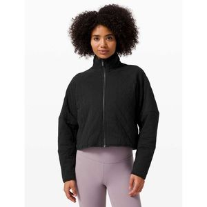 Lululemon Quilted Calm Cropped Black Cotton Jacket 8